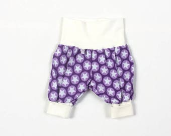Baby pants with stars. Purple baggy harem pants. Jersey knit fabric with white stars. Infant pants. Gender neutral