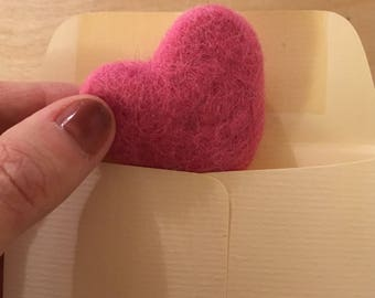 Felt Valentine Heart, Pink Felted Heart, Eco Friendly Valentine's Gift, Gift for Teacher, Gift for Teacher, Present Topper, Office Gift