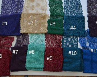 Lace Remnants lot number 3 /Jewel tone colors/ 11 styles 30 yards / see details below/ non stretch