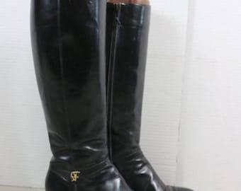 Salvatorre Ferragamo Vintage Black Leather Knee High Boots Sz 6