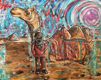 "Traveler. Original acrylic painting. 16x20"""