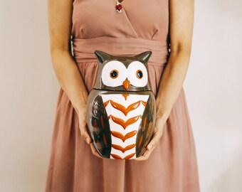 STONEWARE OWL JAR