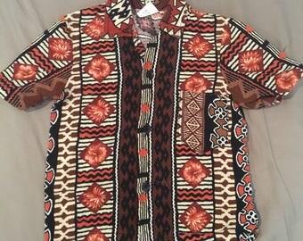 Little boys vintage barkcloth tiki hawaiian shirt