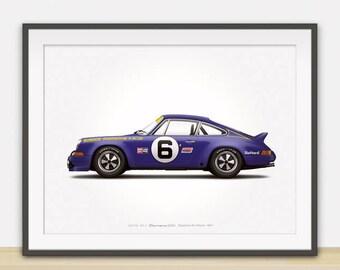 1973 Porsche 911 Carrera RSR (Daytona 24 Hours) illustration poster, print