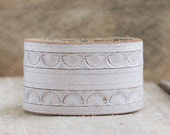CUSTOM HANDSTAMPED cream off white distressed leather cuff by mothercuffer