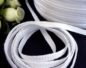 10yds - 50 yds White Polyester Tape Twill Tape Flat Cord Drawstring  3/16 inch /  5mm width best for Hanger Loop, Shoulder Loop TP4