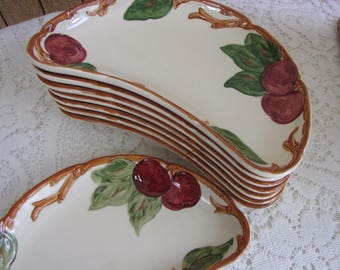 Franciscan Apple Crescent Plates Vintage Dinnerware and Replacements California Pottery 1953 -1958 Discontinued Set of Eight (8) Small Plate