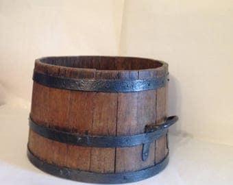 Oak Barrel Grain Measure - English - Plant Holder - Antique - Iron Straps - Rustic Country Kitchen