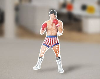"Rocky Balboa Sticker Typography Design from the movie Rocky with his name, ""Rocky Balboa"" Boxing Ring Sylvester Stallone Decal for Laptops"