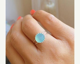 SALE - Aqua ring, Aqua chalcedony ring, Aqua blue Chalcedony ring, MINT ring, Light Blue Silver Ring, Gemstone ring
