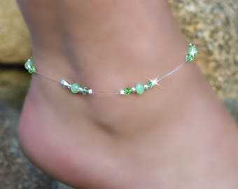 Green Crystal Stretch Anklet/FREE SHIPPING