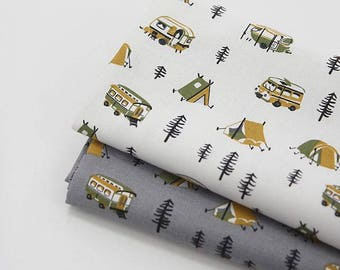 Camping Pattern 20s Cotton Oxford Fabric by Yard - 2 Colors Selection