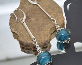 Earrings 925 Silver hooks teal Lampwork Glass Beads