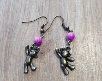 Earrings dangling Teddy bear and pink beads
