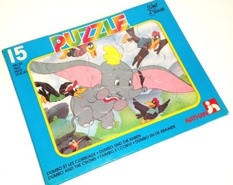 "ON SALE Vintage Nathan puzzle ""Dumbo and the crows"""