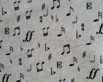 NEW * fabric note music... Beige and black. Sold in 10 cm