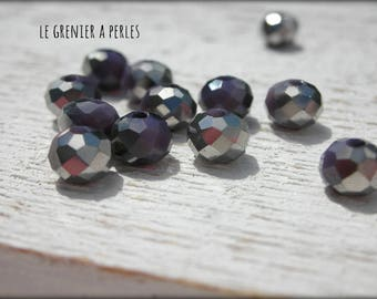 6 mm purple AB Abacus beads X 20