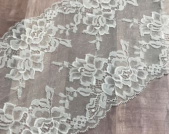 "WHITE Floral Stretch Lace 6.5"" Wide Bra Lace, Underwear Lace, Galloon Lace, Lingerie Lace, Headband Lace, Hem Lace BTY By The Yard"
