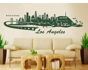 20% OFF Summer Sale Los Angeles Skyline wall decal, sticker, mural, vinyl wall art