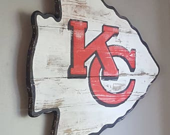 Kansas City Chiefs Arrowhead. Show your hometown pride with hand painted reclaimed wood arrowhead. Great for the man cave!