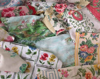 Vintage minced Floral, barkcloth, scenic fabric scrap pieces for projects, craft patchwork appliqué