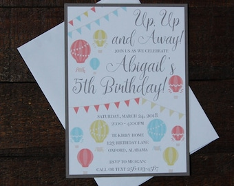 Hot air balloon Invitation, Up Up and Away Invitation, Balloon Birthday Invitation