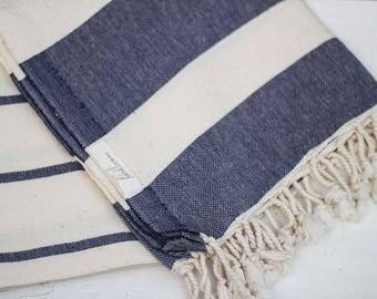 Turkish Towel Navy Earthy | Turkish Beach Towel Bath Towel Cotton Yoga Throw Hammam Spa Towel Bridesmaid Gift Beach Throw Travel Throw