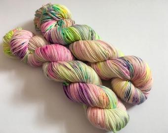 Rave Hand Dyed Superwash Merino/ Nylon/ Stellina Sock Yarn