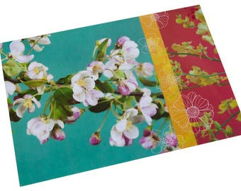 Laminated placemat Apple blossoms and yellow flowers