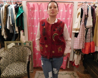 1960's Tulluride / 100% wool /  Ugly Christmas Vest/  retro/ hipster/