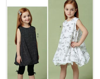 Vogue Pattern V9261 Children's/Girls' Tunic and Dress with Bubble Hem, and Pull-On Leggings