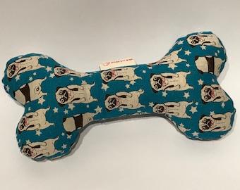Fancy Pug Squeaky Dog Bone - Teal