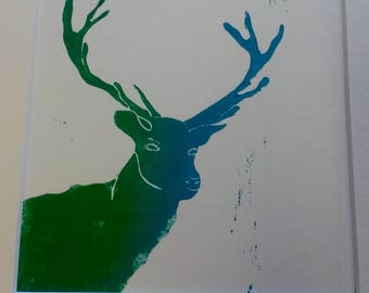 Stag Hand pulled linocut print