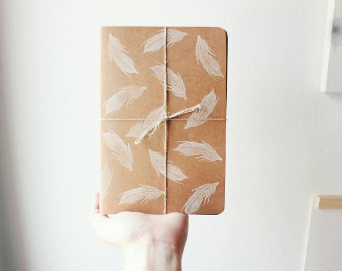 PACK 3 NOTEBOOKS, kraft notebook, swallows, swallows notebooks, handmade stamped notebook, bookbinding, notebook made in barcelona