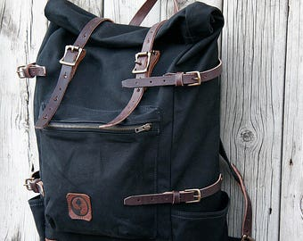 KAWISHIWI ROLLTOP BACKPACK | Large Rolltop Canvas Backpack | Leather Straps | Lifetime Guarantee
