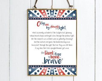 The Star Spangled Banner Lyrics - Illustrative Print.  Available in 2 Sizes.  Beautiful Gift!  USA Print.