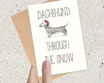 Funny Christmas Card | Pun Cards | Animal Cards | Black and White Illustration | Hand Made Cards | Dog Cards