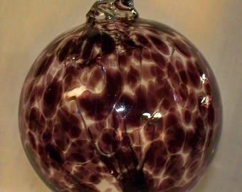 Handblown Glass Witch Ball - Strands inside - GB12 - Purple - Very Pretty !