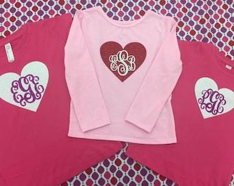 GLITTER MONOGRAM HEART tshirts (long or short sleeve)