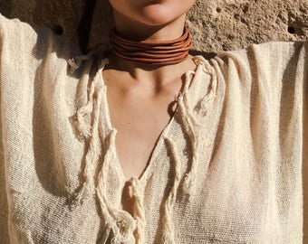 Macrame leather chocker, leather chocker necklace, recycled leather, macrame chocker, macrame chocker, macrame tribal necklace, tigers eye
