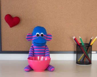 Sock monkey candy dish, coworker gift, cute desk accessory, cubicle decor, teacher gift, new job gift, knick knack holder