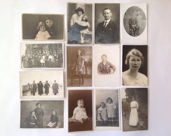 13 Old Photographs / Postcards of People, Vintage 1900s /20s /30s Fashions & Hairstyle Unposted but written on the reverse Film or TV Prop