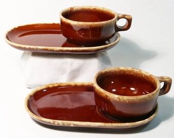 Lot of 2 Hull Pottery Brown Drip Soup Bowls / Mug & Sandwich Plate Tray Set