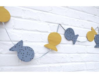 Mustard/grey tissu_decoration baby's room, kids yellow fish Garland