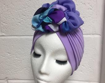 ONE OF A KIND lilac silk Lana turban
