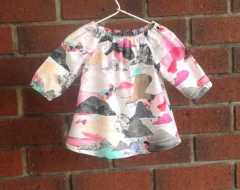 Baby dress fall and spring,  rainbow peasant dress,   size 3 6 12 18 24 mths, designer cotton fabric, infant toddler dress