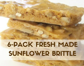 6-pack of  3 oz. Snack Size, Artisan Sunflower Brittle ,Hand Stirred Fresh, Made to Order, Party Favors, Care Package, back to school