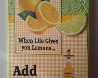 When Life Gives You Lemons...Yellow Gingham 5x7 Handcrafted Greeting card