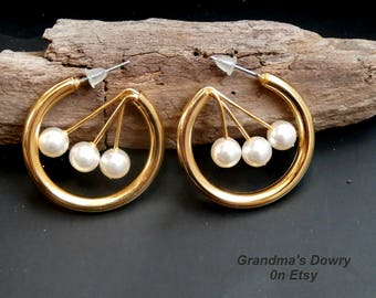 White Pearl Hoop Earrings, Vintage Pearl Gold Hoops  for Pierced Ears, New - Unused
