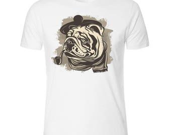 Pipe Smoking Bulldog Men's White T shirt
